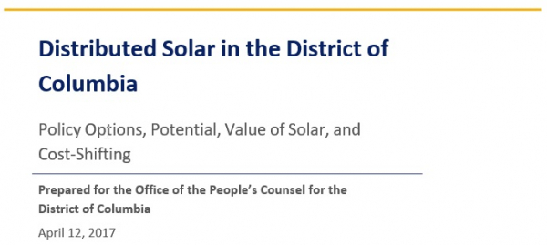 Distributed Solar in the District of  Columbia